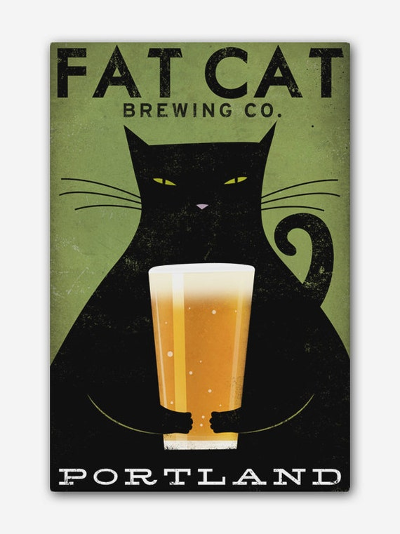 Free CUSTOMIZE PERSONALIZE Fat Cat Brewing Company Black Cat Graphic Art Illustration Stretched Canvas Wall Art SIGNED