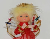 Vintage Angel Tree Topper - Made in Japan by Yuletide Enterprises - Angel Dressed in Red