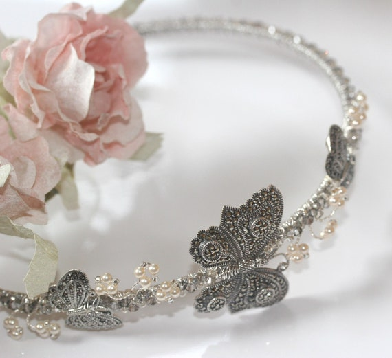 LIMITED OFFER Vintage Style butterfly Bridal Headpiece, Marcasite, sterling silver butterflies side tiara, Pearl and Crystal Wedding Hair