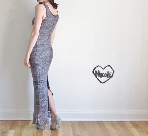crocheted lace maxi dress . tribal festival body con gown .extra small.small .sale