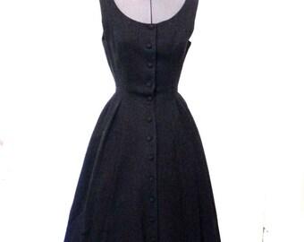 Vintage 1940s Wool Fleck Dress Nip Waist / 40s Black Fleck High End Dress with full skirt S M - on sale