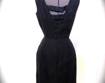 Vintage 50s Dress with Unique Neckline and Peek-a-Boo Back S Rose Embossed - on sale