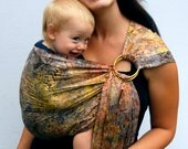 Ring Sling Baby Carrier Maternity Sling Falling Leaves Batik extra Superwide - Ready to Ship in Tall length