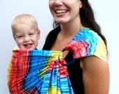 Baby Sling Carrier Ring Sling Batik - Rainbow Brite - Superwide BabyEtte - Ready to Ship in Tall Length