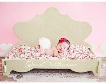 baby girl headband ruffle bloomer set-Cream Chiffon ruffle Bum Baby Bloomer and Dainty Flower on Itty bitty headband- Perfect Photo Prop