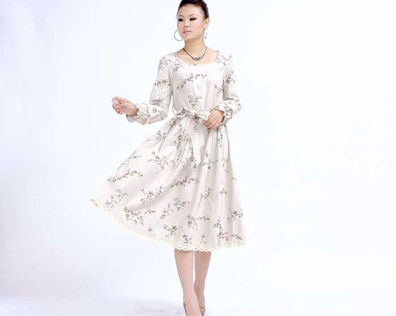 Midi floral linen dress  with no sleeves for Vivian Michelle  (269)