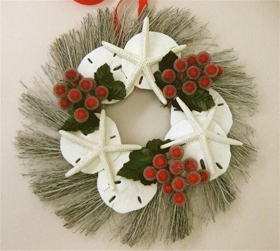 beach christmas wreath with starfish and sand dollars