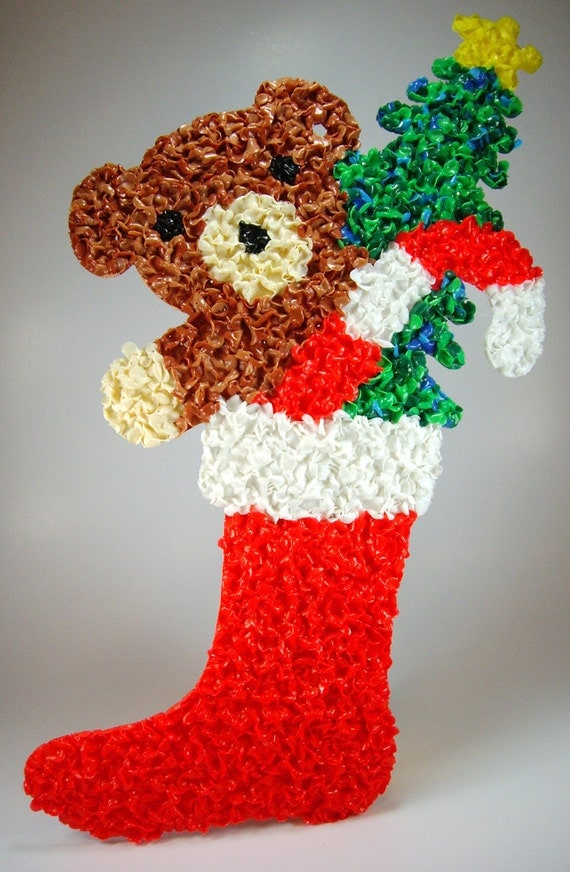 Vintage 1970s Melted Plastic Popcorn Christmas Stocking Wall Hanging, Teddy Bear, Candy Cane, Christmas Tree, Festive Home Decor