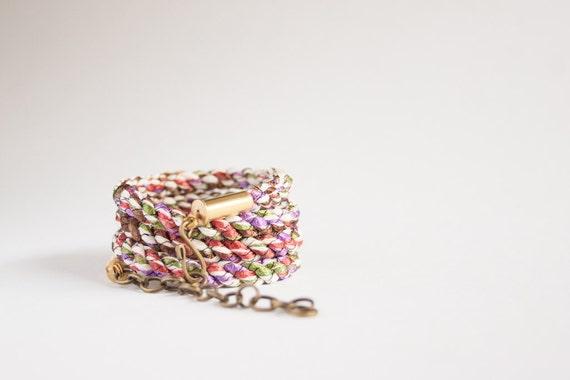 Braided wrap bracelet - multicolor rusty