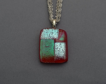 Fused Glass Necklace, Red Dichroic Glass, SRAJD