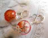 Orange, Clear, Brown Wispy Dandelion Seed Terrarium Reliquary Earrings-Ride The Wind-Warmth of The Sun-Symbolizes Happiness-Gifts Under 35