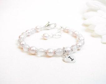 Baby Girl Bracelet // Baby Bracelet // Little Girl Bracelet // Flower Girl Bracelet // Child Monogram Bracelet // Pink Bracelet // Initial
