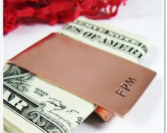 Personalized Money Clip - Hand Stamped Copper Money Clip - Anniversary Gift - Father's Day Gift - Fathers Day - Gifts for Dad -