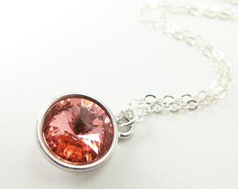 Peach Crystal Necklace Pendant Necklace Peach Jewelry Peach Necklace Sterling Silver Necklace Rivoli