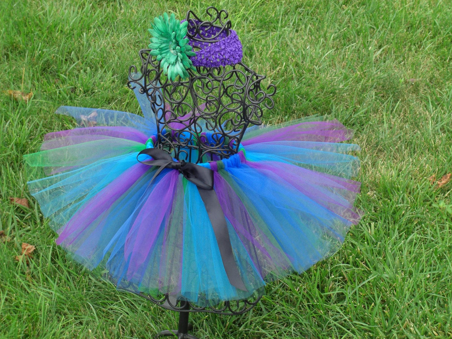 Girls Peacock Tutu Blue Purple Green Black Tutu Peacock