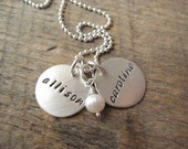 """Personalized hand stamped jewelry, personalized necklace, customized 5/8"""" sterling name discs, kids name necklace, mommy jewelry, grandkids"""