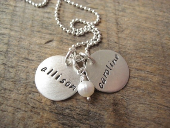 "Personalized hand stamped jewelry, personalized necklace, customized 5/8"" sterling name discs, kids name necklace, mommy jewelry, grandkids"