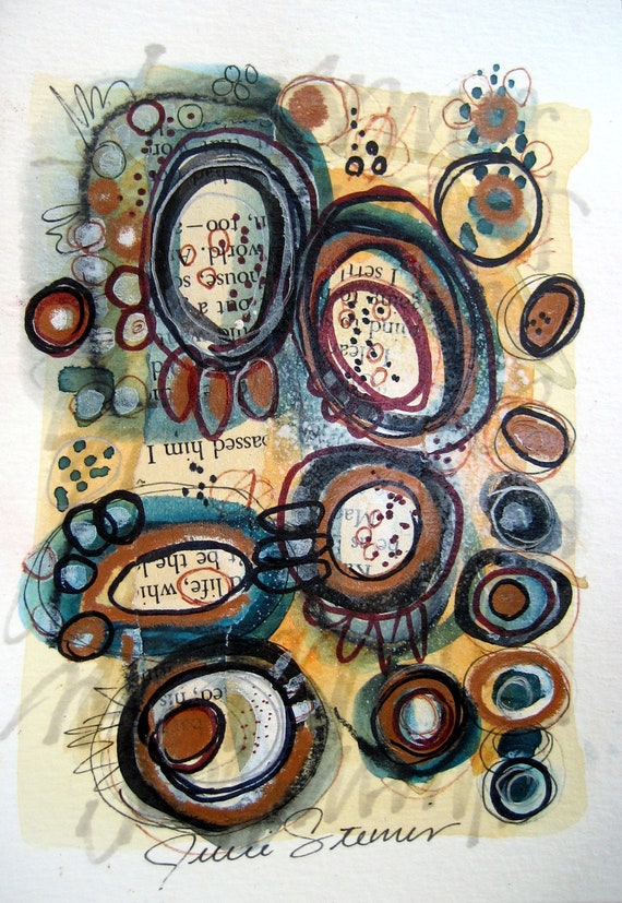 Mixed Media Collage Abstract Expressionist Art Original Painting Circles collection series