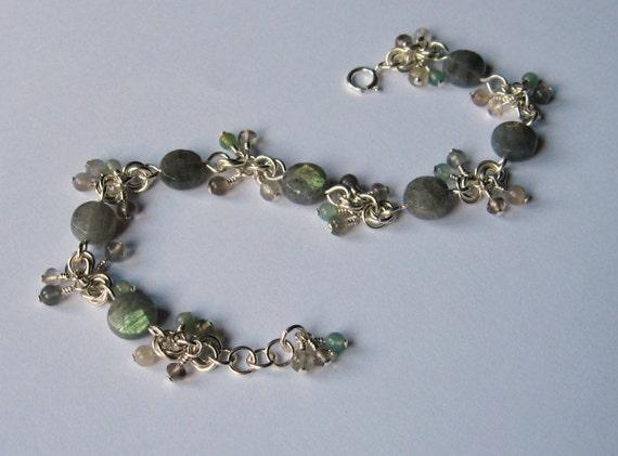 Stormy Sea sterling silver bracelet with labradorite, smoky quartz, moonstone and moss agate