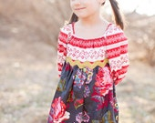 Stoneybrook peasant dress READY TO SHIP in red stripe and Magnolia print, Holiday fashion for girls