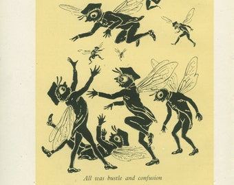 Busy Bees Dancing Illustration, 1944 Vintage Children's Print, Plate 66, M Forster Knight, Yellow, Black, Silhouette Art, Kids Decor