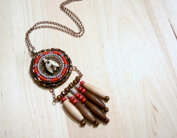 Wisdom Medallion Necklace - Beaded Leather Pendant - Tribal Insect Necklace