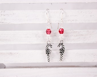 Candy Cane Earrings, Red and Clear Czech Glass, Silver Charms