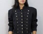 Vintage 90's Black Cropped Calvary Look Box Cut Jacket Military Industrial M