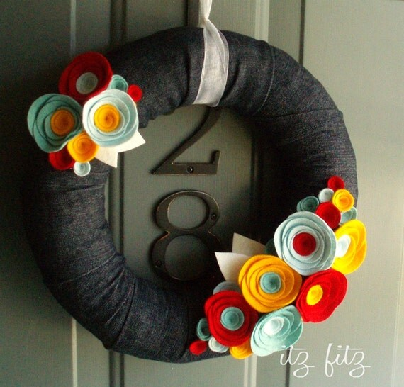 Fabric Wreath Felt Handmade Door Decoration - Denim 12in