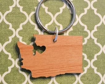 Seattle, Washington Love Wood Key Ring