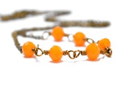 Orange Necklace, Tangerine Mango Pumpkin Necklace, Antiqued Brass Wire Wrapped Necklace, Summer Fashion, Gift Under 25