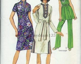 Vintage 1971 Boho Dress and Tunic Pattern Standing Collar Deep Slit Wide Leg Pants 1970s Simplicity 9256 Bust 34 UNCUT