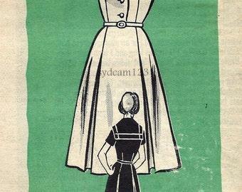 Vintage 1960s Shirtwaist Dress Pattern Sailor Collar Flared Skirt w Inverted Pleats Mail Order 9179 Bust 34