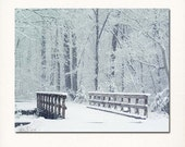"Winter Woods with Bridge Photograph. ""Over the River"" Fine Art Wall Art. Snowy, White, Woodland Forest. 8x10, 11x14, 16x20, 20x24, 24x30"