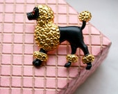 Vintage 1950s Brooch  // 50s French Poodle Brooch // Pin Up Sweater Girl Accessory // NOS