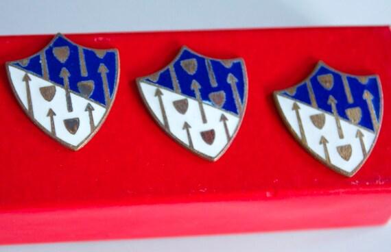 6 Rare Vintage 1940s / 1950's Royal Blue and White Enameled Heraldic Shields