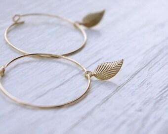 Gold Filled Hoop Earrings, Gold Earrings, Gold Leaf Earrings, Gold Hoop Earrings, Bridesmaid Jewelry, Modern Jewelry, Minimal Earrings