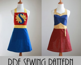 The SUPER WONDER MOM Woman's Apron Pattern - Super Hero Apron Pattern in Two Styles with Many Variations #116
