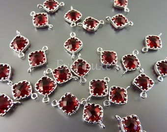 4 rich ruby colored glass diamond design links for bracelets and earrings, silver frame 5061R-RU