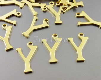 4 Letter Y charms for personalized jewelry gold jewelry name initial charms for jewelry jewellery 1907-BG-Y (bright gold, Y, 4 pieces)