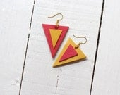 Leather earrings triangles - yellow and tangerine