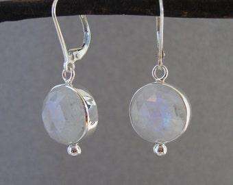 Rainbow Moonstone Earrings in Sterling Silver, Dangle, Rose Cut Earrings