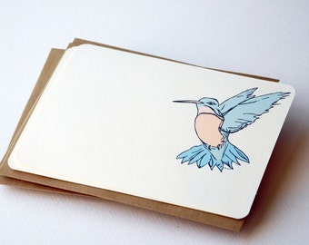 The Little Hummingbird Notecards in Blue, Cream and Peach - Set of 6 flat Notecards and Kraft Envelopes