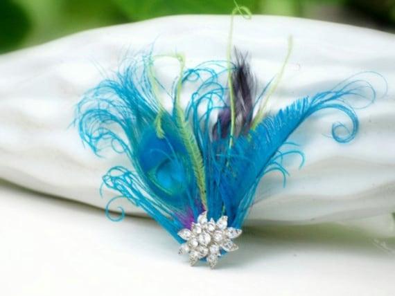 Blue Fascinator Comb. Peacock Sword & Plum Purple Lime Green Feathers - Rhinestones. Spring Bride Bridal Party, Gossip Girl Bridesmaid Gift