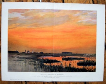 1900 SUNSET original antique landscape print
