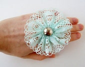 Minty Fresh Lace Adjustable Ring With Vintage Metal Button
