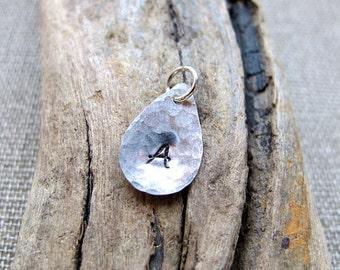Tear Drop Charm - Sterling Silver Teardrop Initial - Personalized Add On Pendant - Necklace Pendant