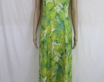 1960s Green Floral Maxi Dress
