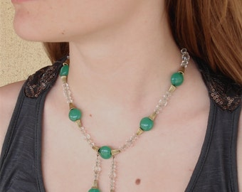 Art Deco Egyptian Revival Cut Glass Lariat Necklace