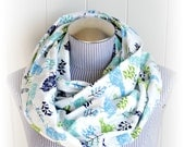 Bird Infinity Scarf, Tweety Birdies and Trees Print in Blue and Charteuse Green